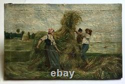 Ancient Painting, Oil On Canvas, Harvest Scene, Fieldwork, 19th