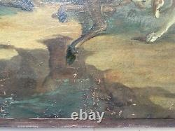 Ancient Painting, Oil On Canvas, Hunting Scene, Cerf, Dogs, 19th Or Before