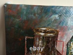 Ancient Painting Oil On Canvas K. Robert (xx-s) Still Life