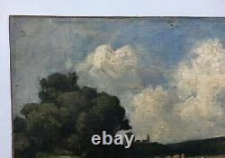 Ancient Painting, Oil On Canvas, Landscape, Countryside, Cows In The Meadow, 19th