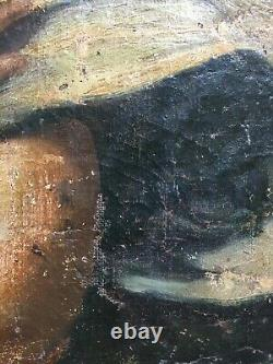 Ancient Painting, Oil On Canvas Marbled On Cardboard, Angel, 19th Or Before