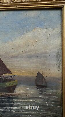Ancient Painting Oil On Canvas Marine Bretagne