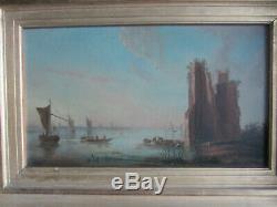 Ancient Painting Oil On Canvas Marine Eighteenth Century Ruins