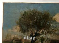 Ancient Painting, Oil On Canvas, Monogram, Barbizon Style Landscape, Late 19th Century