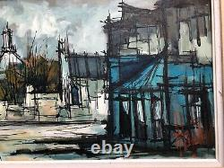Ancient Painting Oil On Canvas Montmartre Signed In The Taste Of Buffet 20th