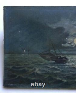 Ancient Painting, Oil On Canvas, Night Marine, Late 19th Century