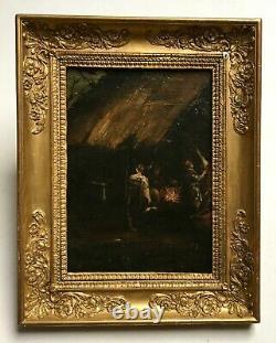 Ancient Painting, Oil On Canvas, Pig Peeling, Box, 17th Century School