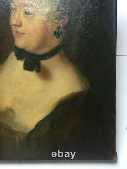 Ancient Painting, Oil On Canvas, Portrait Of A Woman In Circumsted, 19th Or 20th