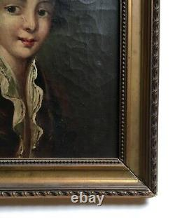 Ancient Painting, Oil On Canvas, Portrait Of A Young Boy In Costume, 19th