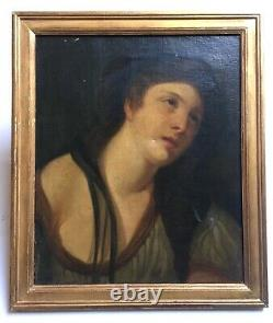 Ancient Painting, Oil On Canvas, Portrait Of Saint, Frame, 19th