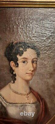 Ancient Painting, Oil On Canvas Quality Lady Portrait, 19th Or Before
