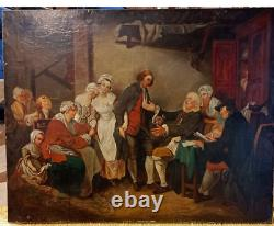 Ancient Painting, Oil On Canvas, Scene The Village Accorded After 19th Greuze