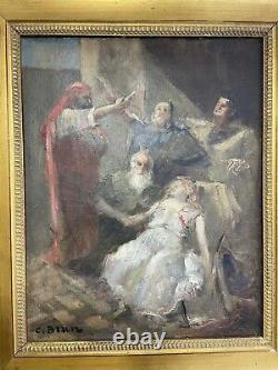 Ancient Painting Oil On Canvas Signed C Brun Epo 18th Animated Scene See Gilded