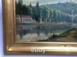 Ancient Painting, Oil On Canvas, Steamboat, Landscape, River, 19th Century