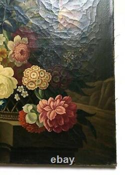 Ancient Painting, Oil On Canvas, Still Life With Bouquet Of Flowers, 19th