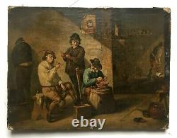 Ancient Painting, Oil On Canvas, Tavern Scene, Northern School, 19th Or Earlier