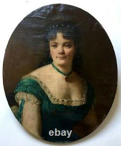 Ancient Painting, Oil On Canvas With Oval View, Portrait Of Young Woman, 19th Century