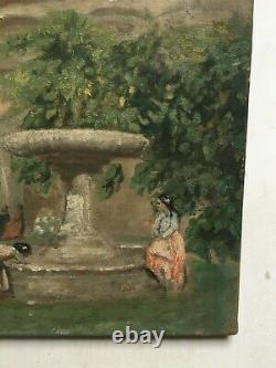 Ancient Painting, Oil On Canvas, Women At The Fountain, Early 20th