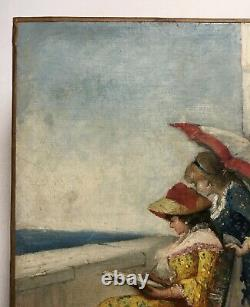 Ancient Painting, Oil On Canvas, Women In Watercolour By The Sea, 19th