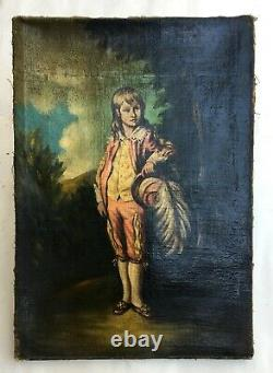 Ancient Painting, Oil On Canvas, Young Boy In Costume, 19th Century