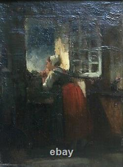 Ancient Painting, Oil On Canvas, Young Woman At The Window, Period Frame, 19th Century