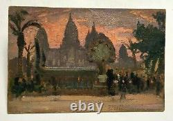 Ancient Painting Oil On Cardboard, Angkor Temple, Colonial Exhibition Early 20th