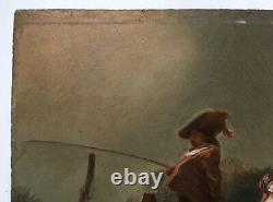 Ancient Painting, Oil On Cardboard, Bucolic Scene, Couple, Fisherman, Dog, 19th