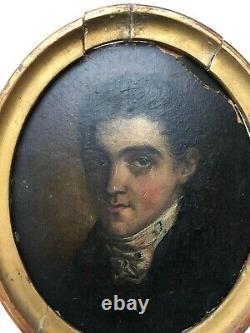 Ancient Painting, Oil On Cardboard, Portrait Of A Young Man, 19th