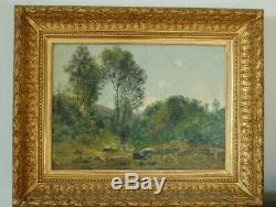 Ancient Painting Oil On Cardboard Signed Landscape Frame Old Gold