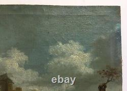 Ancient Painting, Oil On Marbled Canvas, Landscape With Animated Ruins, 19th