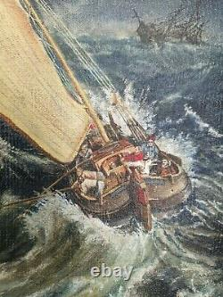 Ancient Painting, Oil On Marine Canvas