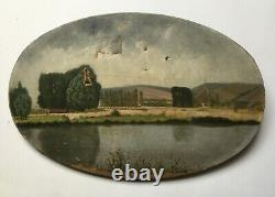 Ancient Painting, Oil On Oval Canvas, Lakescape, Berges, Early 20th Century
