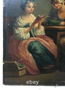 Ancient Painting, Oil On Panel, Interior Scene, Reading, 19th Century