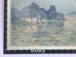 Ancient Painting, Oil On Panel, Vietnam, Bay Of Fai-tsi-long, Box, 20th