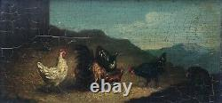 Ancient Painting, Oil On Panel, Volatiles, Chickens, Mountain, Box, 19th