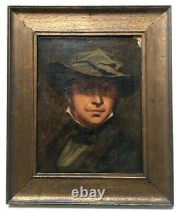 Ancient Painting, Oil On Paper, Male With Hat, Portrait, Framed, 19th