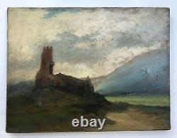 Ancient Painting, Oil On Paper On Canvas, Landscape In Ruins, 19th Century