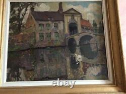 Ancient Painting Oil On Wood Painting Representing Saint Boniface Bridge In Bruges