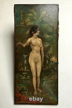 Ancient Painting, P-j Gervais, Oil On Canvas, Nude, Woman At The Fountain, Late 19th