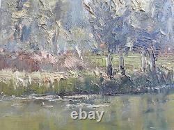 Ancient Painting Painting Oil On Wood Sign Rene Schmid Indre Chateauroux