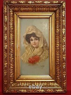Ancient Painting, Portrait Of Woman, Oil On Panel Late 19th Century
