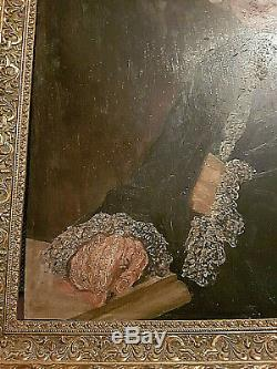 Ancient Painting Portrait Oil On Wood Style XVIII + Beautiful Gold Frame