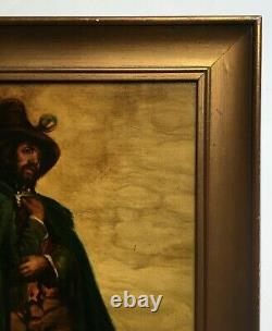 Ancient Painting Signed And Dated 1862, Oil On Canvas, Man In The Cape, 19th