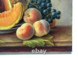 Ancient Painting Signed And Dated 1887, Oil On Canvas, Still Life, Fruits, 19th