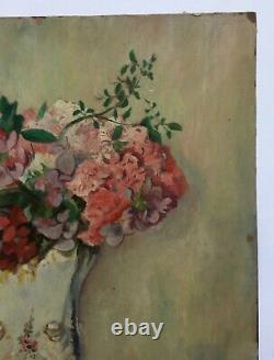 Ancient Painting Signed And Dated 1946, Oil On Paper, Bouquet Of Flowers, 20th