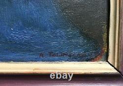 Ancient Painting Signed And Dated 1969, Oil On Isorel, Ecole D'europe Du Nord XX