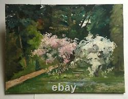Ancient Painting Signed And Dated 1970, Oil On Canvas, Garden, Large Format, 20th