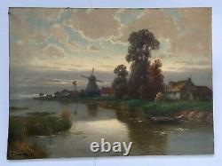 Ancient Painting Signed And Dated 29, Oil On Canvas, Landscape, Flanders, Mill, 20th
