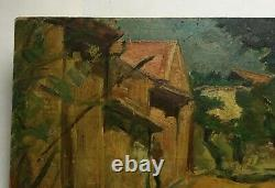 Ancient Painting Signed And Dated, Oil On Isorel, Landscape, Early 20th Century