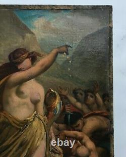 Ancient Painting Signed, Oil On Canvas, Allegory Of Fortune, 19th Century